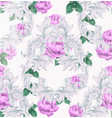 baroque pattern with beautiful roses vector image