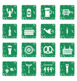 beer icons set grunge vector image vector image