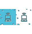 black laptop and free wi-fi wireless connection vector image vector image