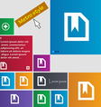 bookmark icon sign Metro style buttons Modern vector image