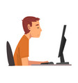 bored man working with computer lazy male clerk vector image vector image