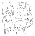 bull goat pig sheep vector image