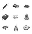 Camping set icons in monochrome style Big vector image