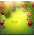 Christmas background with red balls and green vector image vector image