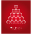 Christmas card with white tree and balls on red vector image vector image
