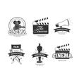 Cinema vintage labels emblems badges set vector image vector image