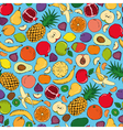 Colored fruits doodle seamless vector image