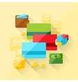 concept of bank cards in flat design style vector image