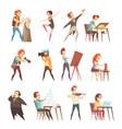 creative professions cartoon icons set vector image