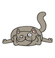 cute grey cat lying on the floor vector image vector image