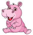 Cute hippo cartoon sitting vector image vector image