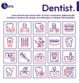 dental care color linear icons set vector image