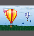 different hot air balloons flying vector image vector image