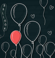 Doodle balloons drawn with chalk on a board vector image vector image