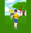 father son playing baseball vector image