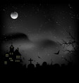 fog over graveyard and a castle vector image