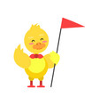 funny little yellow duckling standing with red vector image vector image