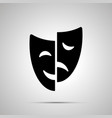 happy and sad drama mask silhouette simple icon vector image