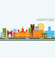 hartford skyline with color buildings and blue sky vector image vector image