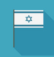 israel flag icon in flat long shadow design vector image vector image