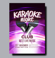 karaoke poster club background mic design vector image vector image