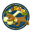 little brown dog with bone on the logo vector image vector image