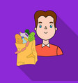 man carrying grocery paper bag full of food icon vector image vector image