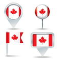 Map pins with flag of Canada vector image