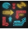 Motel And Bar Neon Arrows Set vector image vector image