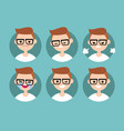 nerd boy profile pics set of flat portraits vector image vector image