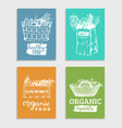 organic vegetables colored cards setfarm vector image