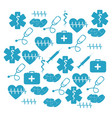 pattern blue silhouette health symbol and star of vector image vector image