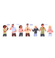 people with smartphone set young man woman vector image