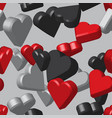 red black grey hearts seamless pattern vector image