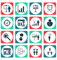 set 16 management icons includes opinion vector image vector image
