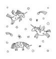 set of cartoon unicorn of unicorns coloring page vector image vector image