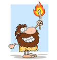 Smiling Caveman Holding Up A Torch vector image vector image