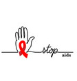 stop aids background with hand and red vector image