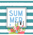 summer time greeting text over striped backdrop vector image vector image