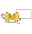 thumbs up with board farfalle pasta character vector image vector image