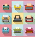 typewriter machine keys old icons set flat style vector image vector image
