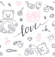 valentines day outline seamless pattern vector image vector image