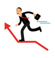 businessman character running on the red raising vector image