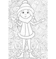 adult coloring book page a cute snow-white girl vector image vector image