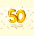 anniversary golden balloons number 50 vector image vector image