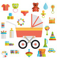 baby toys flat icon set vector image vector image