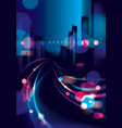 big city nightlife with street lamps and bokeh vector image vector image