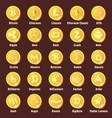 big set of cripto currency logo coins vector image