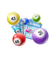 bingo lottery balls and lotto cards lucky numbers vector image