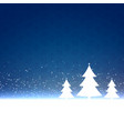 blue christmas background with three trees design vector image vector image